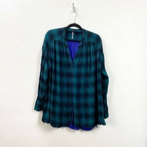 Free People Teal Plaid Come on Over Tunic Top